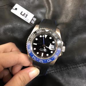 U1 usine 2020 Batman Mécanique Automatique GMT Bracelet Caoutchouc Noir Bleu Lunette Grand Verre saphir Loupe 40mm Hommes Montres-bracelets