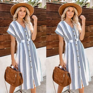 European and American foreign trade 2020 summer new bat sleeve dress female striped button