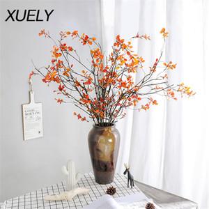 107cm ağaç dalları sahte çiçek solmuş Şubelerde sarmaşıklar Düğün tavan Yapay çiçekler gerçek dokunmatik sonbahar yaprakları sarma