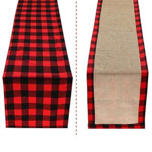 Noël Table Runner Cotton Buffalo Check Plaid et Jute double face Chemin de Table pour vacances d'hiver Accueil Décorations JK1910XB