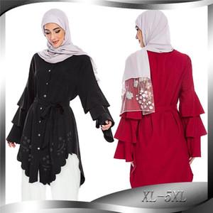 Donna musulmana camicetta elegante Islamico Turco Arabo Hollow Abaya abito solido casuale stratificato Tops shirt manica lunga irregolare