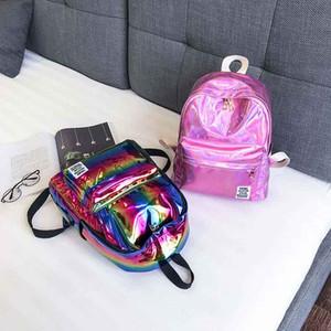 Блеск Женщины конструкторов-рюкзак для девочки сумка школа Laser Silver Book Рюкзак Колледж рюкзака Mochilas Mujer 2018 XA398WB