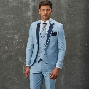 Hellblaue Bräutigam Smoking Peak Revers Groomsman Hochzeit 3 Stück Anzug Mode Männer Business Prom Party Jacke Blazer (Jacke + Hose + Tie + Weste) 2286