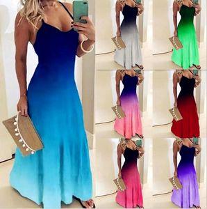 Las mujeres ocasionales colores suelta el vestido de la correa atractiva del verano de Boho del arco Camis Befree Maxi vestido Tallas Grandes Vestidos grandes Robe Femme