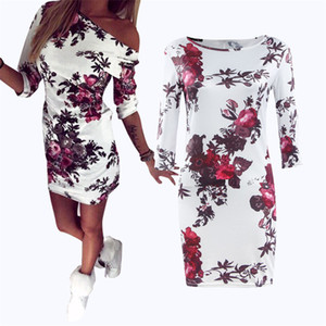 2019 Été Femmes Dress Cartoon Floral Print Dress Demi-Manche Mignon Moulante Gaine Sexy Mince Robes De Soirée Robes
