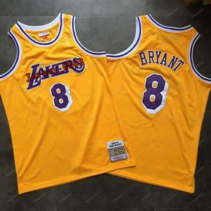 Los Angeles homensLakersKobe8Bryantnba amarela jerseys camisa de basquete Mitchell Ness Rookie Swingman mangas