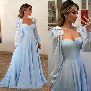 Novia de manga larga A-línea de cielo azul Vestidos de baile de flores apliques de noche del partido de las señoras de los vestidos por encargo robe de Festa