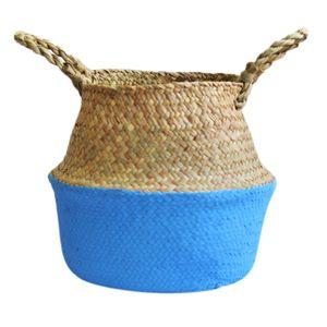 Handmade Wicker Basket Bamboo Seagrass Flower Pot Storage Baskets Foldable Straw Patchwork Rattan Seagrass Belly Garden Decor