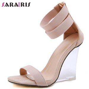 Shallow SARAIRIS partido único super alta sandalias de las cuñas zapatos de moda Claro sandalias de tacón atractiva de las mujeres del dedo del pie abierto de la mujer