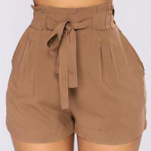 Женские шорты свободных женщин повязка пояса повседневная высокая талия летние стильные короткие брюки для