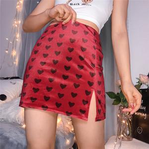 Женская дизайнер Split линия юбка лето Высокая талия была тонкой и модные Printed Velvet юбка