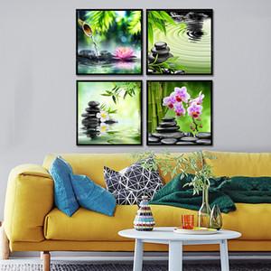 작품 벽 아트 HD 인쇄 홈 장식 없음 액자 회화 프레임이없는 4 개 패널 핑크 오키드 선 요가 사진 캔버스 인쇄