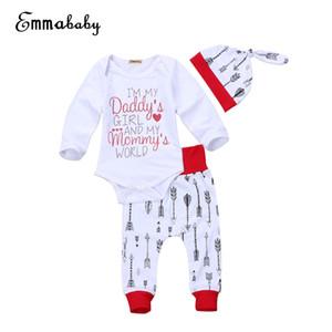 Emmababy enfant nouveau-né bébé manches longues Set Pull O-Neck Lettre Romper Pantalon Jumpsuit Vêtements Outfit Set 0-24M