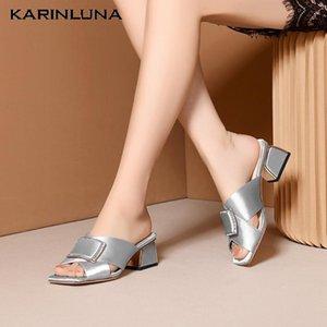 Karin New Fashion soie à l'intérieur en cuir Slipper Mulets été Chaussures femme Sandales Pompes