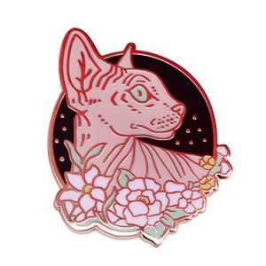 Sphynx con fiori pin distintivo gatto senza pelo witchy gioielli Emo alternativa carino gotica