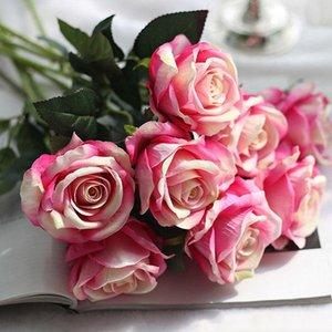 파티 홈 웨딩 장식 발렌타인 데이를위한 고품질 선물 로맨틱 로즈 인공 꽃 DIY 레드 화이트 실크 가짜 꽃