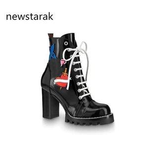 botas de cuero de las mujeres 1a2y7w Rastro de estrella cordones de los zapatos populares del talón grueso de cuero negro de lujo vulcanizado suela Martin