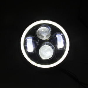 Мотоцикл черный 10W светодиодный прожектор головная лампа Hi / Lo Beam Bobber Chopper