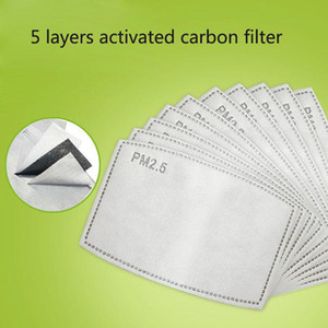 Karşıtı Haze Toz Kapağı Açık Work toptan yüz maskesi Filtre Değiştirilebilir Nefes 5 Katmanlar Aktif Karbon PM2.5 Maskesi Filtresi