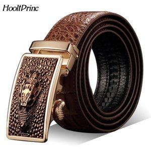 Hot Sale Men belts Genuine leather Crocodile designer Automatic Belt man buckle Real Cow skin Wide girdle for Jeans male