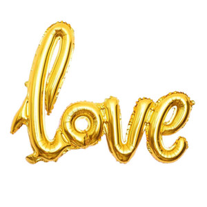 Ligatures LOVE Letter Foil Balloon Anniversary Wedding Valentines Birthday Party Decoration Champagne Cup Photo Booth Props