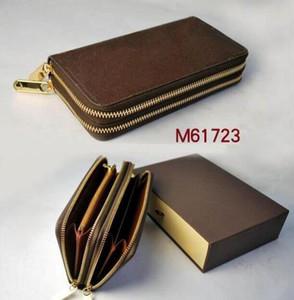 Neue Art und Weise Frauen-Mappen-Qualitäts-Leder-Doppel-Reißverschluss-Mappen-Mann-lange Mappen-Kartenhalter-Handtasche mit dem Kasten