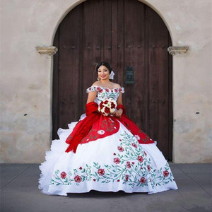 2020 Elegant Off Shoulder Lace Quinceanera Dresses Satin Embroidery Beaded Layered Ruffles Ball Gown Sweep Train Prom Party Princess Dress