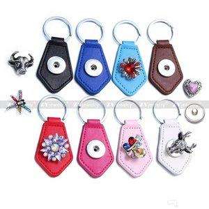 Estrela PU Leather botão snap 18 milímetros pressão Keychain DIY Noosa Botão Chaveiros snap Chaveiro Acessórios Jóias