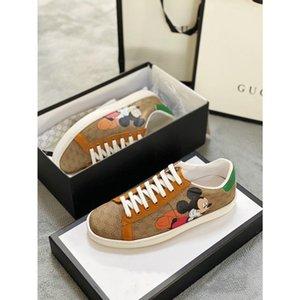 Para mujer GG Ace hombre del diseñador de moda para mujer de la zapatilla de deporte de la plataforma y ocasionales de la plataforma plana unisex Alpargata zapatos de cuero blanco tamaño GG 35-45
