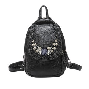 Free2019 Spalle Mini-Woman All-match Tide Ricamo Soft Leather Small Backpack Pacchetto petto doppio scopo
