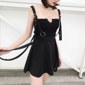 Punk Saia Mulheres Gothic Buckle Vintage cintura alta Strap Mini Saias Moda Streetwear Grunge Casual Saia preta Feminino