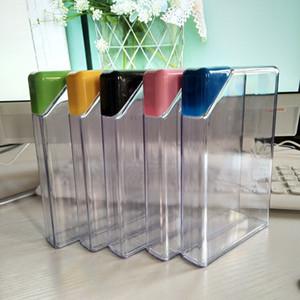 광장 플라스틱 병 학생 투명 삼각형 캡 물 병 학생 블랙 블루 녹색 뚜껑 컵 새로운 도착 6jg L1
