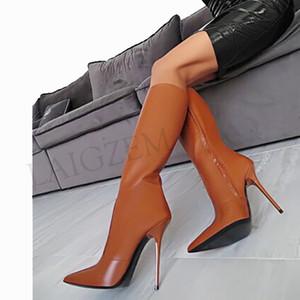 Hot Sale-Mulheres High Heel joelho alta botas stiletto Botas Faux Zip Leather Shoes Mulher Botines Mujer