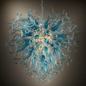 Lustres modernes en verre soufflé Lustre Lumières Lustres Lighting Antique salle à manger Lustres Bleu Gris Cristal Lumières Livraison gratuite