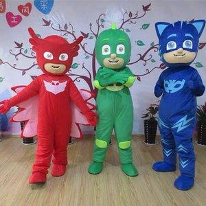 PJ MASKS Capes Umhänge mit Augenmaske 2pcs / set 5 Farben PJ Maske Kostüme PJ Charaktere Capes Kinder-Halloween-Party-Kostüm Geschenke Maskottchen