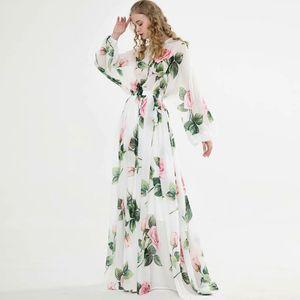 La piste des femmes Robes O cou à manches longues imprimé floral lacées élégante Maxi design vestimentaire décontracté Vestidos