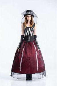 Theme Kostüme der Frauen Cosplay ärmelloses Kleid Halloween-Tag Lustige Kleid-Partei-Kleid Das Skeleton Braut