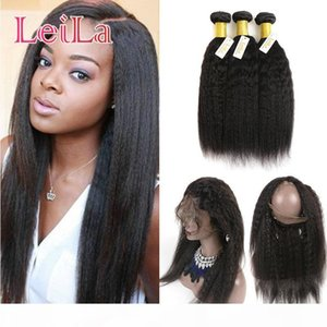 Peruvian Virgin Hair 3 Bundles And 360 Lace Frontal Kinky Straight Pre Plucked Baby Hair Frontal Human Hair Wefts With Closure
