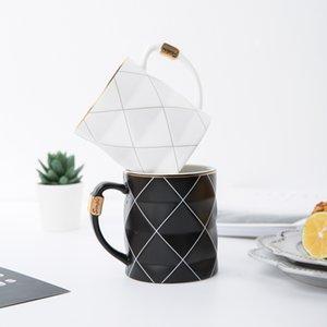 Nordic d'or noir et blanc grille géométrie en céramique tasse à café en porcelaine boire du jus tasse de café au lait Tasse à thé Y200106