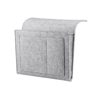Comodino Caddy feltro Comodino dell'organizzatore di immagazzinaggio con tasche extra per la camera Dormitorio a castello o Loft letti Divano grigio chiaro