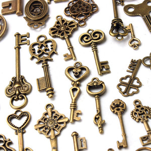70pcs Faroot Retro / set antico dell'annata vecchio look Ornato Skeleton Keys lotto Cuore collana fai da te Fancy pendente Hanging Home Decor