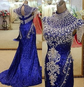 Royal Blue Sequined High Neck Mermaid Evening Dresses Party Elegant For Women Crystal Real Photos Red Carpet Celebrity Formal Gowns