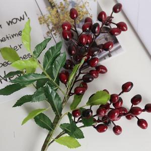 Поддельный оливок Bean филиал Цветы на Рождество искусственных растений Berry цветов для венчания Главной Братц цветок завод стены
