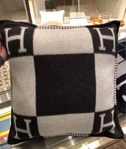 Smelov 패션 빈티지 양털 베개 문자 H 브랜드 유럽 베개 커버 커버 울 던져 고급 베개 45x45 65x65cm