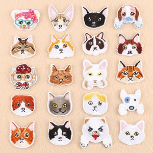 20 Styles de bande dessinée Chiens Chats Broderie Des Patchs Pour Les Vêtements Coudre Fer sur Mignon Animal Chien Bull Terrier Chat Patch Badge Applique Pour Jeans