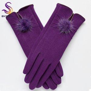 [BYSIFA] Mujeres Mink ball Guantes de lana Diseño de apertura de moda Guantes de invierno Nueva moda elegante elegante negro mitones guantes D19011005