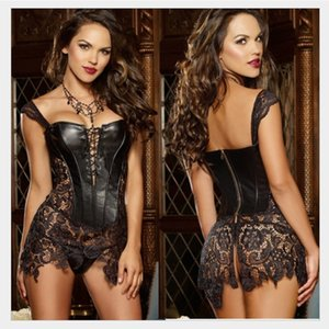 X 6XL Lencería sexy Mujeres Faux Leather Lace Burlesque Steampunk Corset Dress Set Plus Size Steel Bonded Gothic Bustier Corpet
