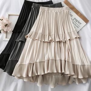 Falda de la torta ocasional de las mujeres de cintura alta elástico una línea de falda larga dulce de la manera Maxi Saias Bottoms