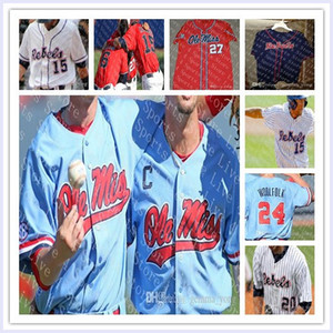 Custom Ole Miss Rebels NCAA College Baseball Ryan Rolison Michael Spears Brady Feigl Zack Cozart Jazart James McArthur Will Golsan Trikots
