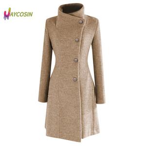 Jaycosin Prendas de abrigo abrigos chaquetas de invierno de la solapa de la capa de foso de lana cálido abrigo de manga larga Abrigo Outwear Mujer